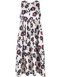 ODEEH Платье Миди Ампирного Силуэта С Цветочным Принтом - Многоцветный