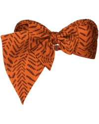 Johanna Ortiz Bow-detailed Bandeau Bikini Top - Orange