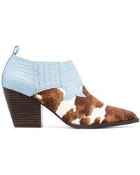 Kurt Geiger Sadie Cow-pattern Western Boots - Blue