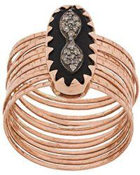 Pascale Monvoisin 9kt Rose Gold Bowie N°1 Black Diamond Ring - Metallic