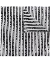 Balmain Logo Striped Cotton Scarf - Black