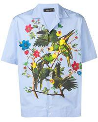 DSquared² Camisa de manga corta con estampado de pájaros - Azul