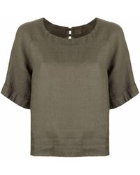 120% Lino Blusa de manga corta - Verde