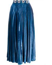 Christopher Kane Falda midi plisada con detalles - Azul