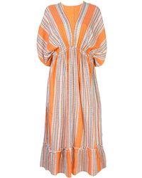 lemlem Women's Amira Orange Plunge-neck Dress