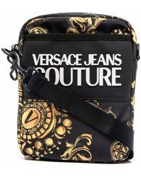 Versace Jeans Couture Baroque-print Logo-motif Messenger Bag - Black