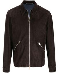 Paul Smith Zip Pocket Leather Jacket - Brown