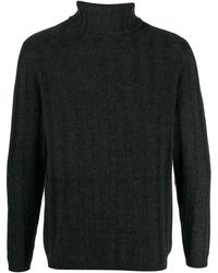 N.Peal Cashmere 007 Chunky Ribbed Polo Neck Sweater - Gris