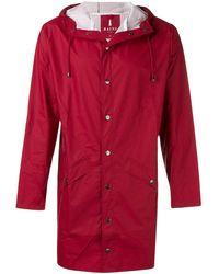 Rains Water-resistant Hooded Coat - レッド