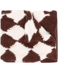Plan C Jacquard Knit Scarf - Brown