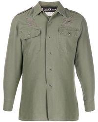 John Richmond Patchwork Military Shirt - グリーン