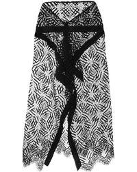 Michelle Mason シアーレース スカート - ブラック