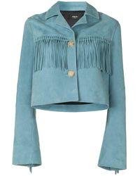 Amiri Fringe Leather Jacket - Blue