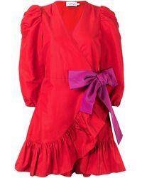 Tanya Taylor Vestito corto con maniche a palloncino - Rosso