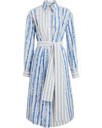 Burberry - Scribble Stripe Silk Cotton Shirt Dress - Lyst