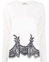 Valentino Pullover mit floraler Spitzenborte - Weiß