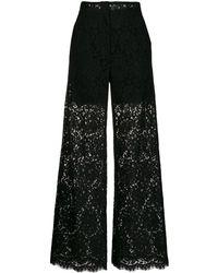 Dolce & Gabbana フローラルレース パンツ - ブラック