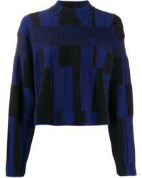 Proenza Schouler パッチワーク チェック セーター - ブルー