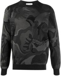 Alexander McQueen Abstract-print Long-sleeve Sweatshirt - Black