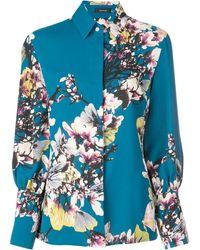 Natori Bouquet Print Long-sleeve Button-down Blouse - Blue