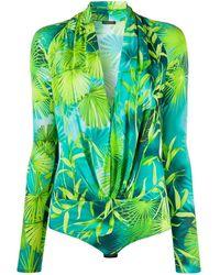 Versace Jungle-print Bodysuit - Green