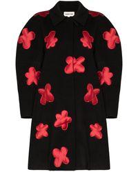 ShuShu/Tong Floral-appliqued Wool Coat - Black
