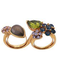 Oscar de la Renta Crystal And Cabochon Ring - Metallic