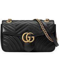 3c14c505bf94 Gucci - Women's Black GG Marmont Medium Leather Shoulder Bag - Lyst