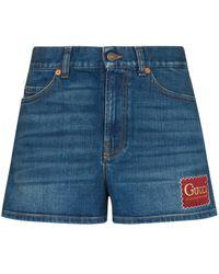 Gucci デニム ロゴ ショートパンツ - ブルー