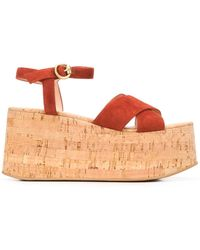 Gianvito Rossi Wedge Heel Cut-out Detail Sandals - Orange