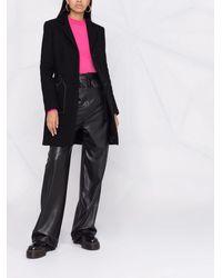 Love Moschino Однобортное Пальто С Декоративной Строчкой - Черный
