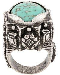 Saint Laurent Gemstone Signet Ring - Metallic