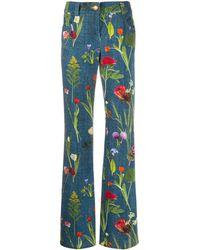 Boutique Moschino フローラル ストレートジーンズ - ブルー