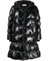 RED Valentino Aライン パデッドコート - ブラック