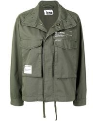 Izzue Slogan-print Military Jacket - Green