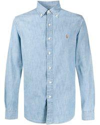 Ralph Lauren Collection Cotton Logo Embroidered Shirt - Blue