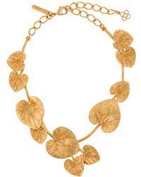Oscar de la Renta Eucalyptus Leaf Detail Necklace - Metallic
