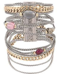 John Hardy - Adwoa Aboah 18kt Yellow Gold, Silver And Mixed Stone Classic Chain Multi-row Bracelet - Lyst