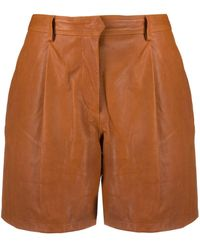 Rag & Bone Ivy Leather Short Relaxed Fit Short - Brown