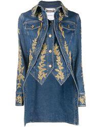 Moschino Camisa vaquera con detalle brocado - Azul