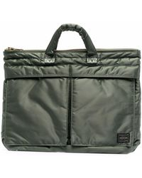 Porter Small Tanker Logo Patch Briefcase - Green