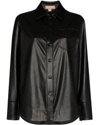 Matériel アニマルフリーレザーシャツ - ブラック