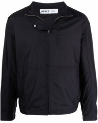Affix Stand-up Collar Zipped Lightweight Jacket - Blue
