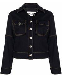Lanvin Logo-print Denim Jacket - Black
