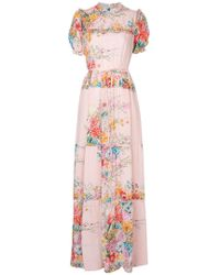 N°21 - Floral Print Ruffle Detail Dress - Lyst