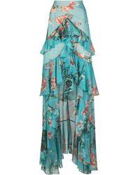 PATBO Long Ruffled Floral Print Skirt - Blue