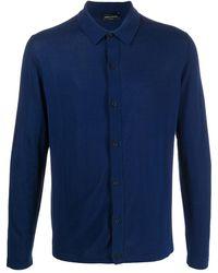 Roberto Collina Cárdigan tipo camisa de punto - Azul