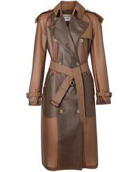 Burberry Trenchcoat Met Leren Detail - Bruin