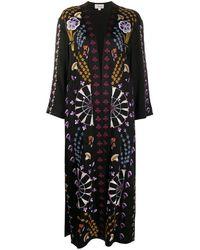 Temperley London Пальто Оверсайз С Цветочным Принтом - Черный