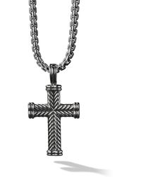David Yurman Silver Chevron Cross Enhancer Pendant - Metallic